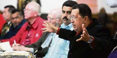 """El presidente Hugo Chávez durante su último consejo deminsitros el 20 de octubre de 2012, conocido como """"Golpe de timón""""."""